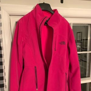 North face soft shell jacket, pink size large